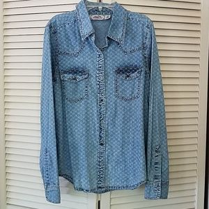 Button down chambray western style shirt